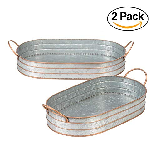 Oval Tin Tray 2 Metal Butler Trays Galvanized Serving Basket Brass Handles Two Piece Set Modern Country Rustic Farmhouse Kitchen Decor Gifts Vintage Countertop Bedroom Bathroom Shabby Chic Storage Aspen Metal Bedroom Set
