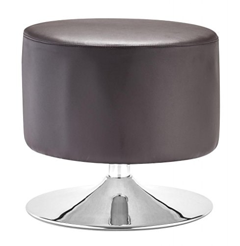 America Luxury - Chairs Modern Contemporary Living Room Ottoman, Brown Leatherette Chrome Steel