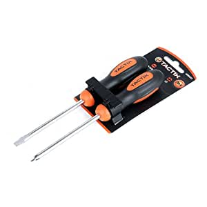 Tactix 205431 Basic Screwdriver Set, Black/Orange, 2-Piece