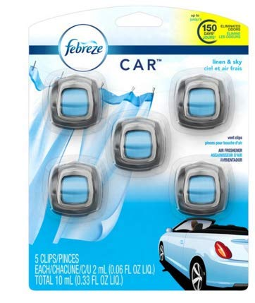 (Febreze Car Air Freshener, Set of 5 Clips, Linen & Skyup to 150 Days)