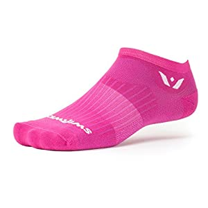 Swiftwick ASPIRE ZERO | Socks Built for Running and Cycling | Fast Drying, Firm Compression No show Socks | Crave Pink, Medium