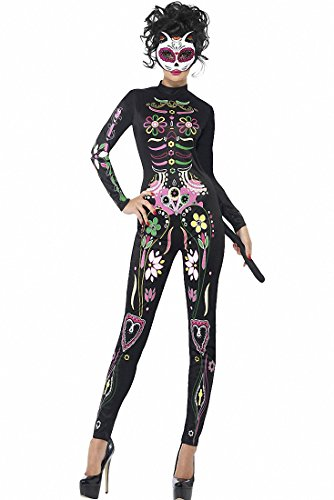 Sugar Skull Halloween Costumes Ideas (Women High Neck Long Sleeve Halloween Cosplay Sugar Skull Cat Halloween Party Costume)