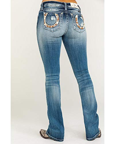 - Miss Me Women's Cow Hide Horseshoe Bootcut Jeans in Dark Blue Dark Blue 30 34