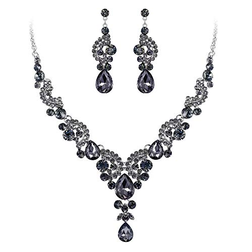 EVER FAITH Rhinestone Crystal Bridal Floral Wave Teardrop Necklace Earrings Set Grey Silver-Tone