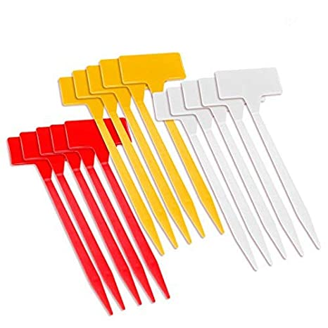 KINGLAKE 15 Pcs Waterproof Plastic Plant Curved T-Type Tags Large Nursery Garden Labels 3 Colors