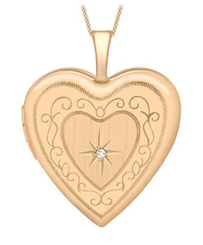 Carissima Gold Cadena con colgante de oro rosa de 9K, diamante, 46 cm