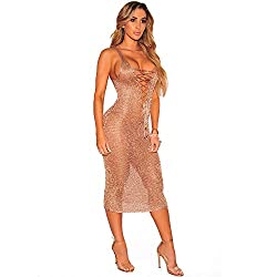 Amore Bridal Women?��s Sexy Deep V Neck Lace Up Beach Bikini Cover Up Summer Holiday Rose Gold