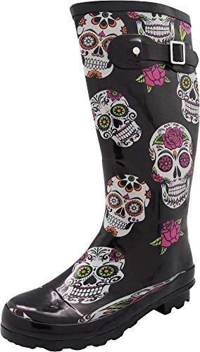 NORTY - Womens Hurricane Wellie Printed Rose Skulls Hi-Calf Rain Boot, Black 40716-8B(M) - Boots Rubber Skull