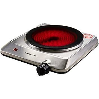 Ovente Countertop Infrared Burner U2013 1000 Watts U2013 7.5u201d Ceramic Glass Single  Plate Cooktop With