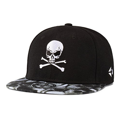 (King Star Men Skull Skeleton Baseball Cap Solid Flat Bill Adjustable Snapback Hats Black)