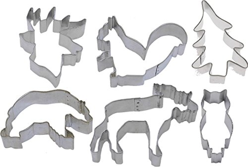 6 Piece Forest Woodland Moose Bear Deer head Squirrel Cookie Cutter Set NEW!