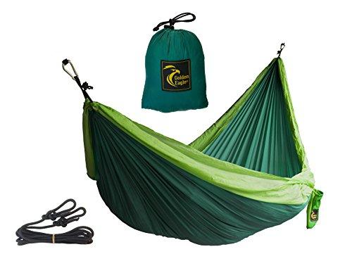 Golden Eagle Portable Camping Parachute Silk Double Hammock. Premium Quality.(dark/light green)