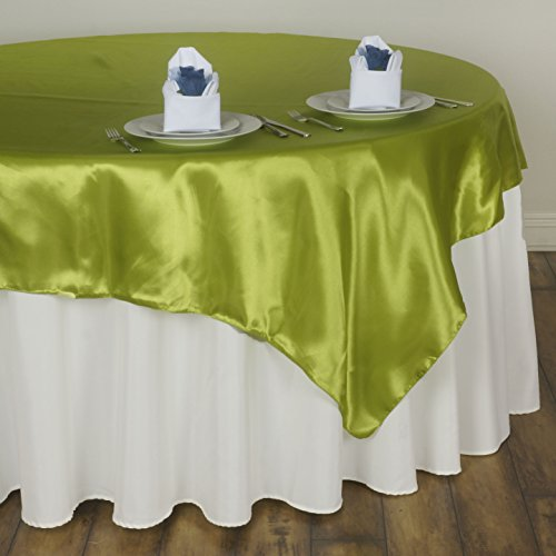 (BalsaCircle 5 pcs 72x72 inch Sage Green Square Tablecloth Satin Table Overlays Linens for Wedding Table Cloth Party Reception Events Kitchen Dining )