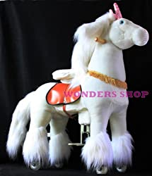 WONDERS SHOP USA Ponycycle Pony Cycle Ride On Horse No Need Battery No Electric Just Walking Horse LOVELY WHITE UNICORN - Size MEDIUM for Children 4 to 9 Years Old or Up to 90 Pounds