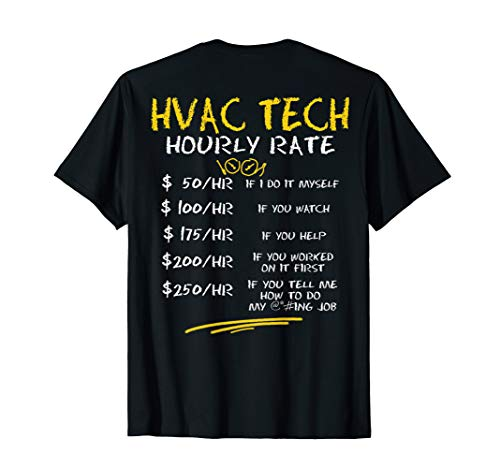 HVAC Tech Hourly Rate Shirt Chalk Style Best HVAC Gift