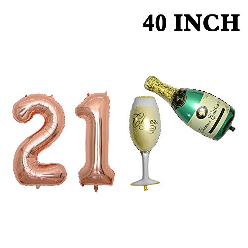 Number 21 Balloons, Rose Gold - 21 Birthday Decorations | 40Inch Champagne Balloon Set |21st Birthday Balloons Foil Mylar Balloons for Rose Gold Party Supplies | 21 Birthday Party Decorations. ()