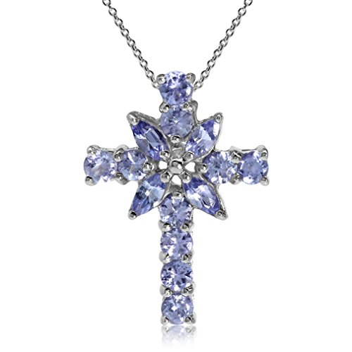 Tanzanite Cross Necklace (1.1ct. Genuine Tanzanite White Gold Plated 925 Sterling Silver Cross Pendant w/ 18