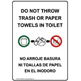 Do Not Throw Trash or Paper Towels in Toilet, 7 x 5 in. with