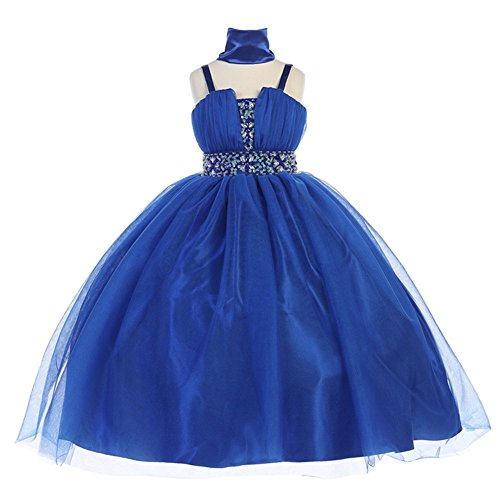 TGI Kids Little Girls Royal Blue Tulle Floral Rhinestone Flower Girl Dress 6 by TGI Kids