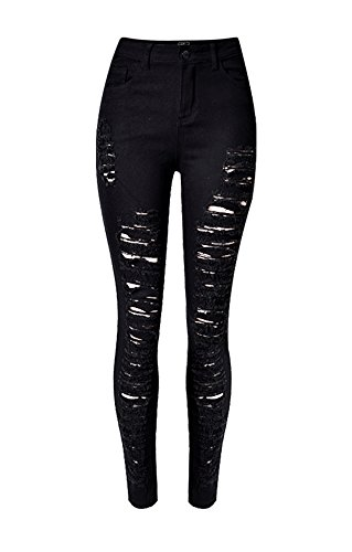 Tribear Women's Destroyed Ripped Hole Washed Denim Pencil Pants Jeans (14, - Distressed Black