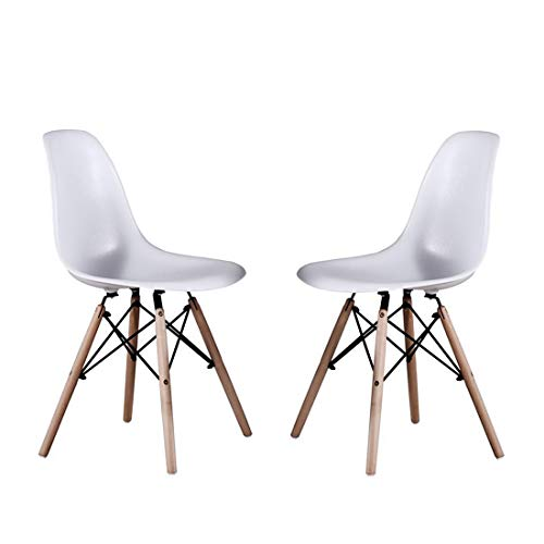 Cheap Alovhad Dining Chairs Set of 2 Modern Kitchen Furniture Side White Chairs Mid Century Dinning Room Home Furniture Plastic Wooden Legs Waiting Room Chairs Post Modern Chair