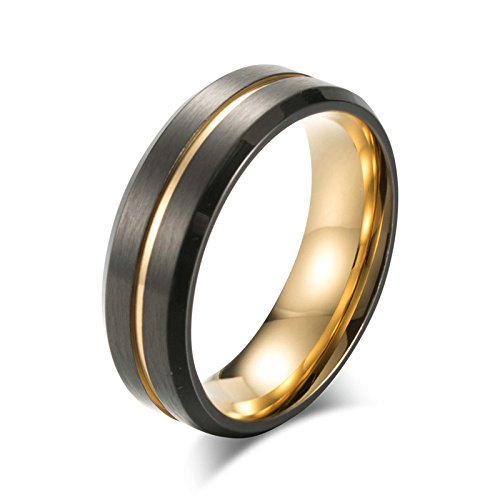 Daesar Stainless Steel Rings Men Ring Titanium Punk Matt Round 8 MM Gothic Black Gold Ring Promise Ring Gold Ring Size 7