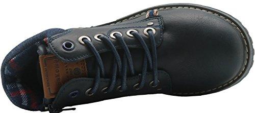 Apakowa Kurzschaft Herren Stiefel Combat Boots Klassische Stiefel (Color : DarkBlue2, Size : 2.5 UK/35 EU)