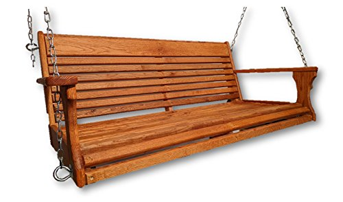 Red Oak Wood Porch Swing/Hand Rub Oil Finish/Made in USA/Porch Swing/Wood Swing - Oak Swing