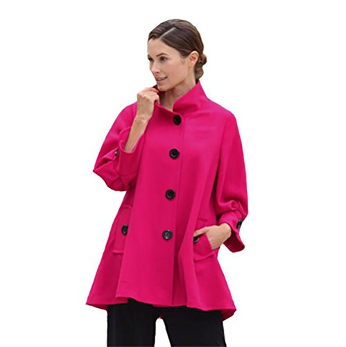 IC Collection Fuchsia Swing Style Jacket (Small) by IC Collection