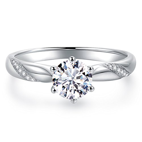 Stunning Flame Solitaire Engagement Ring Cubic Zirconia CZ in White Gold Plated Sterling Silver for Women | Excellent Cut, D Color, FL Clarity & Exquisite Polish
