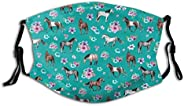Unisex Multi Usage Face Cover Up,Horse Pattern Floral Print Turquoise Little Girls Room Horses Reusable Cloth