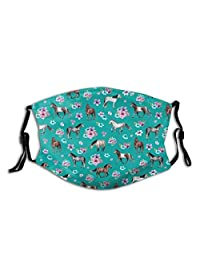 Unisex Multi Usage Face Cover Up,Horse Pattern Floral Print Turquoise Little Girls Room Horses Reusable Cloth Mask Protect Cover Breathable Balaclava for Hot Summer Outdoor Shopping Sport