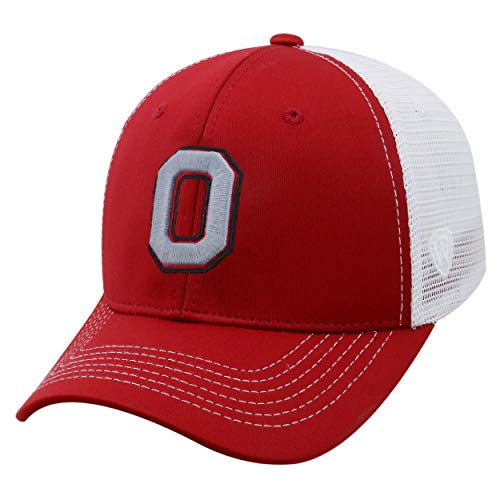 Top of the World NCAA-Ranger Trucker Mesh-Adjustable Snapback Hat Cap (Ohio State Buckeyes-White, Adjustable)