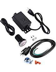 """HK Garbage Disposal Air Switch Kit with Power Cord Kit, Sink Top Waste Disposer On/Off Switch with Aluminum Alloy Power Module (Long Brushed Stainless Steel 2.5"""" Button)"""