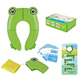 Ziidoo Travel Portable Folding Potty Training Toilet Seat Cover, Non Slip Silicone Pads, Suitable for Kids Baby Boys and Girls