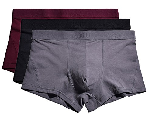 YVWTUC Mens Flexible Boxer Briefs Tag-Free Cotton Underwear 3-Pack by YVWTUC