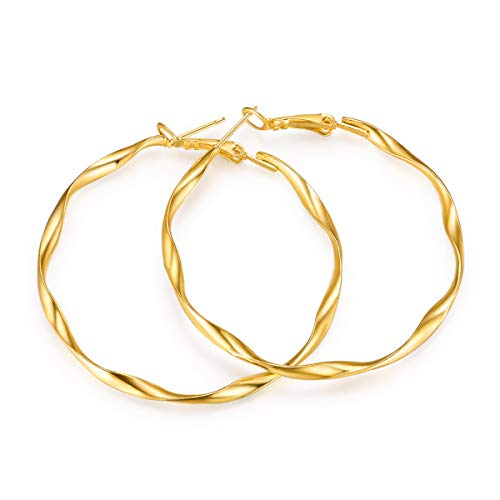 KVANU Big Gold Hoop Earrings for Women Girls Stainless Steel Small Gift ()