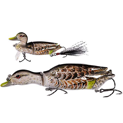 TRUSCEND Fishing Lures for Bass,Topwater Lures Duck Fishing Baits with Treble Hooks Fishing Lure Duck Lures Baits (Brown-2 PCS)