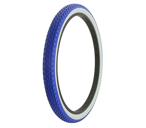Alta Bicycle Tire Duro 26 x 2.125 Bike White Wall Thread Diamond Style (Blue/White) ()