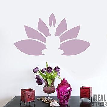Buddha Lotus Blumen Schablonen wiederverwendbar Haus Wand Dekor ...