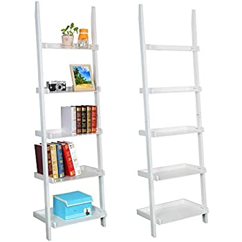 Topeakmart Living Room White Wooden 70 Inch 5 Tier Leaning Ladder Shelf  Bookcase Bookshelf Stylish Display