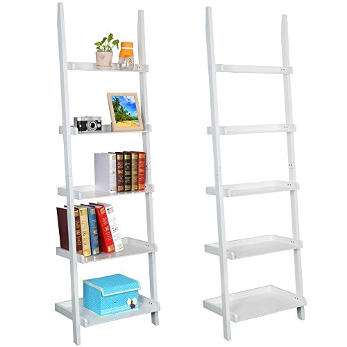 Go2buy Modern White Wood 5 Tier Leaning Ladder Shelf Bookcase Bookshelf 70 Inch Book DVD CD Display Storage Shelves Unit