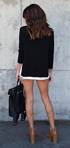 Femmes Hauts Noir Shirts et Chemisiers T Rond Jumpers Manches Longues Automne Blouse Tops Col Tees Shirts Sweat Fashion Printemps Pulls tEwqxdH4vH