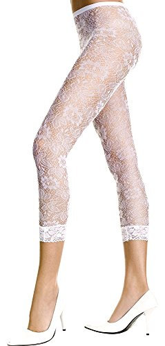 White, Std. Size (100-175 lbs) Womens Floral Lace Leggings