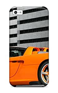 Flexible Tpu Back Case Cover For Iphone 5c - Orange Car In An Underground Parking