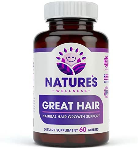 Great Hair Supplement - Natural Hair Growth Vitamins for Healthier Hair - Potent DHT Blocker to Reduce Thinning & Hair Loss - All Hair Type, Women & Men - Biotin, Saw Palmetto +22 More! - Tablet Pills