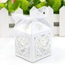 Doober Wedding Candy Box Doober Love Heart Laser Cut Candy Gift Boxes With Ribbon For Wedding Party Favor 50/100pcs (100, White)