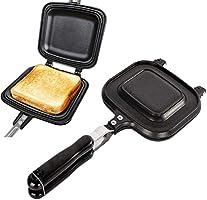 ホットサンドメーカー 直火式 具だくさん対応 耳まで焼ける フチが圧着 フッ素樹脂加工 焦げ付きにくい 丸洗い 軽量 操作簡単 アウトドア キャンプ 家庭用