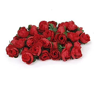 Tinksky 50pcs 3cm Artificial Roses Flower Heads Wedding Decoration (Red)