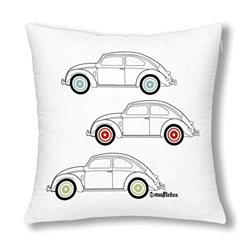 InterestPrint VW Beetle Car Outline with Coloured Wheels Twin Sides Throw Pillow Cover 18